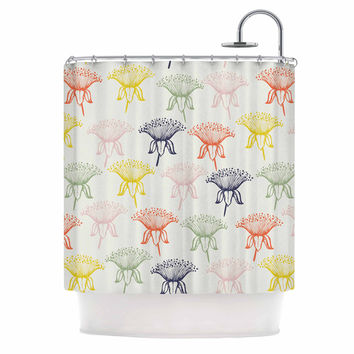 "Gukuuki ""Rainbow Poppies"" Multicolor Floral Shower Curtain"