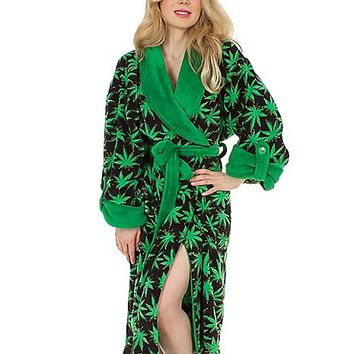 Green Leaf Plush Robe - Spencer's