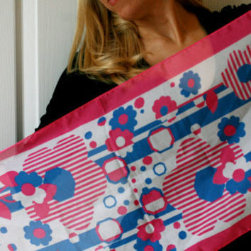 Vintage Italian Long  Pink and Blue Scarf.