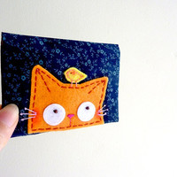 Cat Card Case, ID Card Case, Business Card Case - Curious Kitty