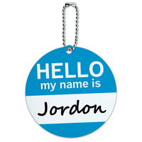 Jordon Hello My Name Is Round ID Card Luggage Tag