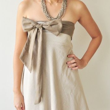 Two tone.... Cream-Brown Cotton Dress 2 Sizes Available