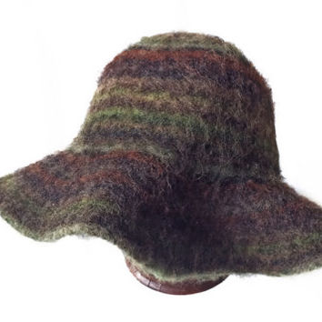 Vintage Mohair Floppy Hat Multicolor Earth Tones Vintage Floppy Hat