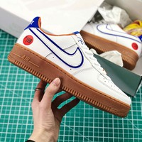 Nike Air Force 1 Low Af1 Wonder Bread White Blue Brown Sport Shoes - Best Online Sale