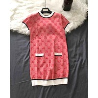 GUCCI 2019 new round neck color matching jacquard double g letter dress Red