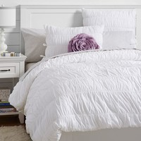 Ruched Duvet Cover + Sham, White