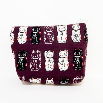 Medium Zipper Pouch, Lucky Cats Pouch, Purple Pouch, Cute Pouch, Fabric Pouch, Cosmetic Bag, Toiletry Bag, Coin Purse, Lucky Cats in Purple