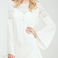 White Lace Insert Flared Sleeves Mini Dress
