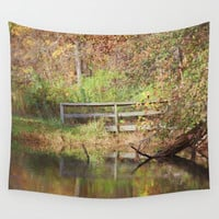 Bridge Over Oak Creek Pond Wall Tapestry by Theresa Campbell D'August Art