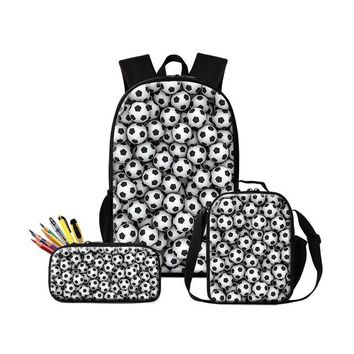 Cool Backpack school Dispalang Soccers School Backpack Cool Insulated Lunch Case for Boys Trendy Thermal Cooler Pouch Bags Bookbag Children Pencil AT_52_3