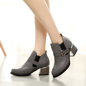 Womens Classy Buckle City Heeled Boots