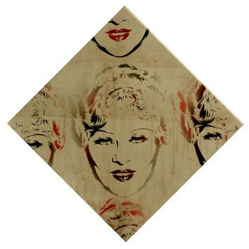 MAE WEST PORTRAIT 12x12 Vintage Pin Up Actress Diamond Lil Lady Tagger Geurilla Queen Graffiti and Pop Art Inspired Urban Art on Canvas