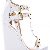 WHITE FAUX LEATHER SPIKE STUD STRAPPY PLATFORM WEDGE