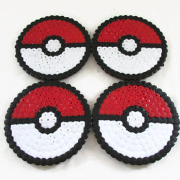 Pokeball drinks coasters , hama / perler bead coasters , video game pixel art
