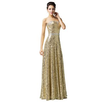 Women's Long Elegant Strapless Gold Sequin Evening Party Prom Dress