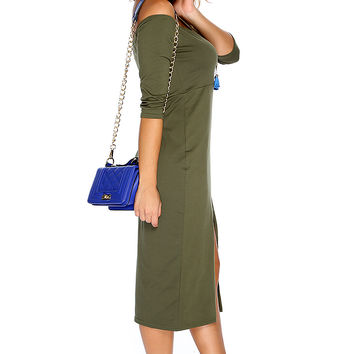 Sexy Olive Off The Shoulder Front Slit Casual Midi Party Dress