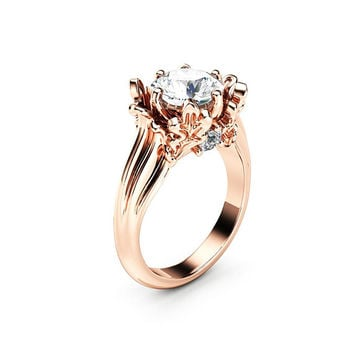 Moissanite Leaves Engagement Ring 14K Rose Gold Ring Celtic Moissanite Anniversary Ring