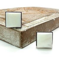Be Square White Mother of Pearl Cufflinks – White Pearl Cufflinks – White Cufflinks