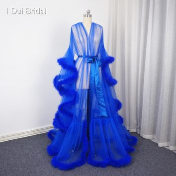 Royal-Infinity: Royal Blue Feather Long Sleeve Feather Formal Dress Robe