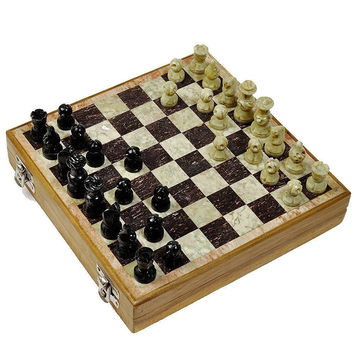 Hashcart Stone Chess Game Board Set (10x10 inch) with Hand Crafted Stone Pieces '