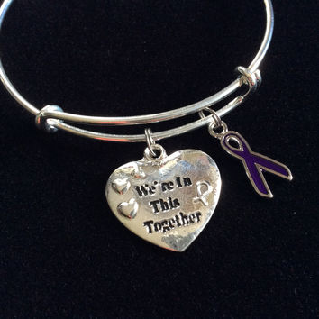 We're in this together Purple Awareness Ribbon Bracelet Expandable Adjustable Silver Wire Bangle Trendy Gift (Other Awareness Ribbons Available)