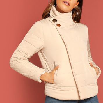 Neutral Asymmetric Placket Puffer Coat