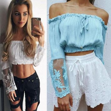 CREYIH3 New fashion blue off-the-shoulder lace long sleeved cropped top