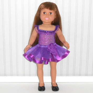 18 inch Doll Clothes Purple Dance Outfit with Sequin Leotard and Ribbon Tutu American Doll Clothes
