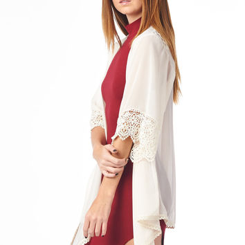 Ivory Kimono with Crochet Cuff and Hemline Festival Fashion Classic
