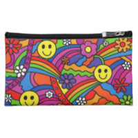 Smiley Face Rainbow and Flower Hippy Pattern Cosmetic Bags
