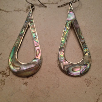 Vintage Mexican Earrings Alpaca Silver Abalone Dangle Mexico Boho Jewelry