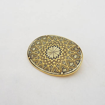 Vintage Oval Toledo Damascene Brooch, Damascene Pin, Black and Gold Brooch