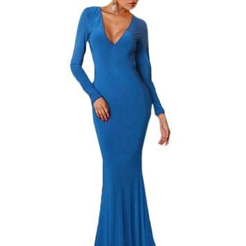 Chicloth Backless Long Sleeves Mermaid Blue Evening Gown