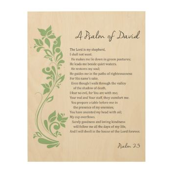 Psalm of David The Lord is my Shepherd Bible Verse Wood Wall Art