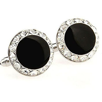 Basket Hill , Round Black and Clear Crystal Mens Cufflinks