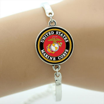 US Marine Corps Jewelry Accessory Military Bracelet Fashion Jewelry Round Charms Glass