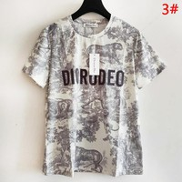 DIOR Summer Fashion New Letter Animal Pattern Print Women Men Top T-Shirt