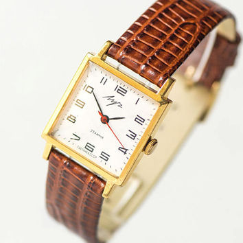 Gold plated women's watch square, minimalist wrist watch Ray, lady watch gold plated, shockproof watch retro gift, premium leather strap new