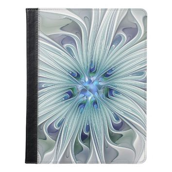 Floral Beauty Abstract Modern Blue Pastel Flower iPad Case