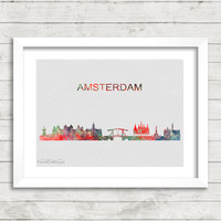 Amsterdam Skyline Watercolor Art Print, Netherlands Cityscape Watercolor Art, Minimalist Home Decor Not Framed Buy 2 Get 1 Free! [No. 43-2]