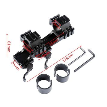 Tactical Heavy Duty Quick Release Cantilever 25.4mm 30mm Dual Rings Tri-Side Scope Mount for 20mm Rail Adapter Picatinny Weaver