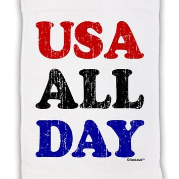 "USA All Day - Distressed Patriotic Design Micro Terry Sport Towel 11""x18 by TooLoud"