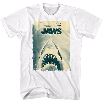 Jaws Tall T-Shirt Distressed Sepia Movie Poster White Tee