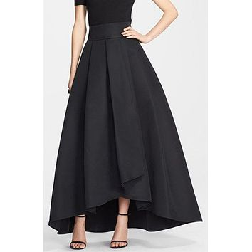 Women's Vintage Stretch High Waist Plain Skater Flared Pleated Long Skirt women skirt clothes