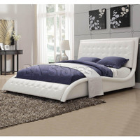 Tully White Queen Bed with Button Tufting Headboard/Footboard | Beds COA-300372Q/2