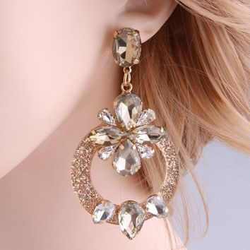 Drop Resin Crystal Big Earring