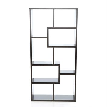 Modern 70-in High Display Cabinet Bookcase in Dark Brown Cappuccino Wood Finish