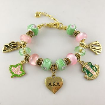 Charms Bracelet Alpha Sorority Gold Jewelry