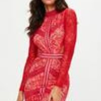 Missguided - Red High Neck Backless Lace Dress