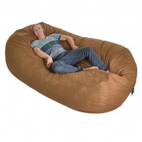 8' Huge Earth Brown SLACKER sack Foam Bean Bag Couch like LoveSac Microsude Cover Medium Brown:Amazon:Home & Kitchen